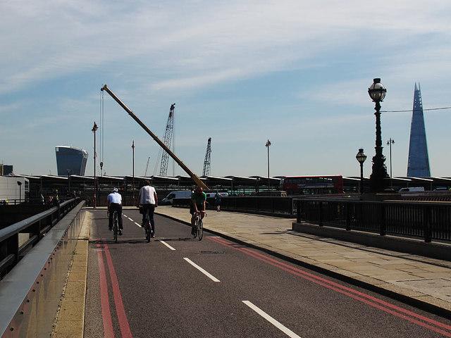 Cycle superhighway, Blackfriars Bridge ramp