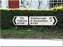 TM1587 : Roadsigns on the B1134 Station Road by Adrian Cable