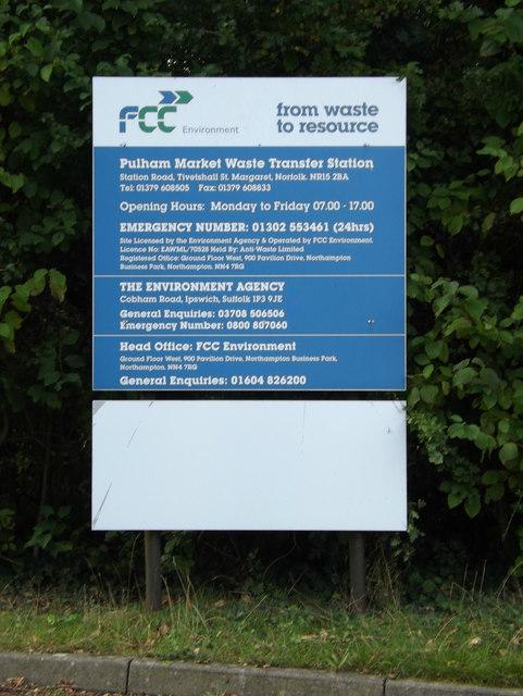 Pulham Market Waste Transfer site sign