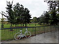 TQ3277 : Ghost Bike outside Burgess Park, Camberwell Road by PAUL FARMER