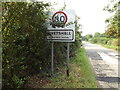 TM1785 : Tivetshall Village Name sign on Rectory Road by Adrian Cable