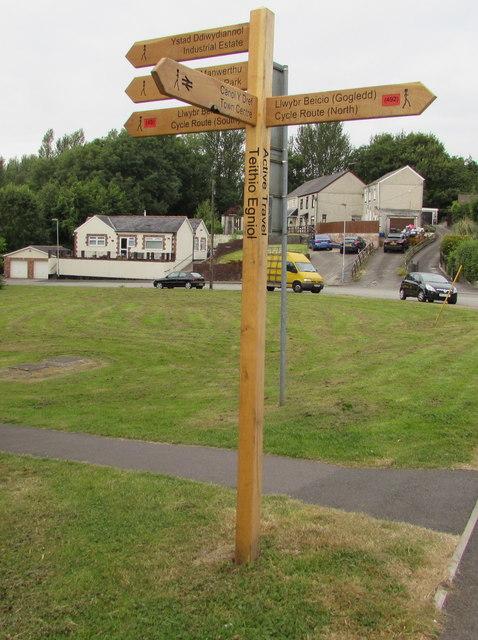 Wooden signpost, Greenhill Road, Cwmbran