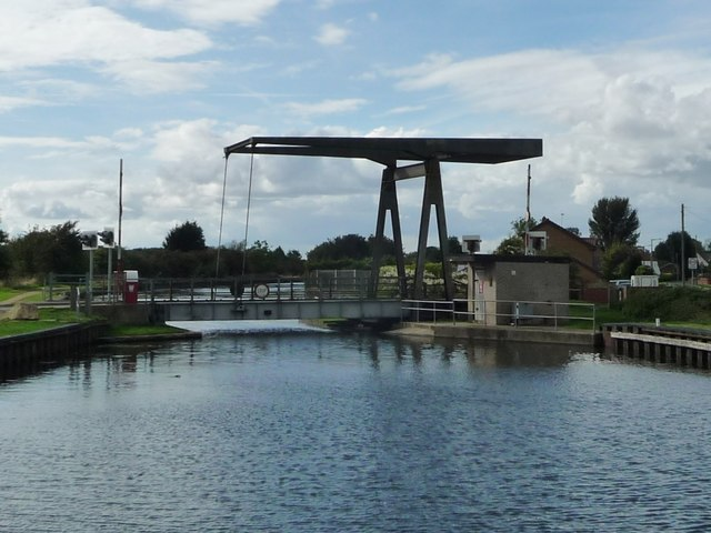 Wykewell lift bridge, open for road users