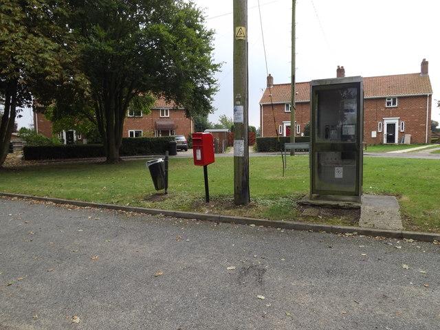 School Road Postbox & Telephone Box