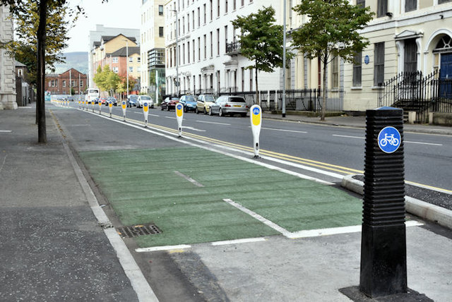 Two-way cycle lane, College Square North, Belfast (October 2016)
