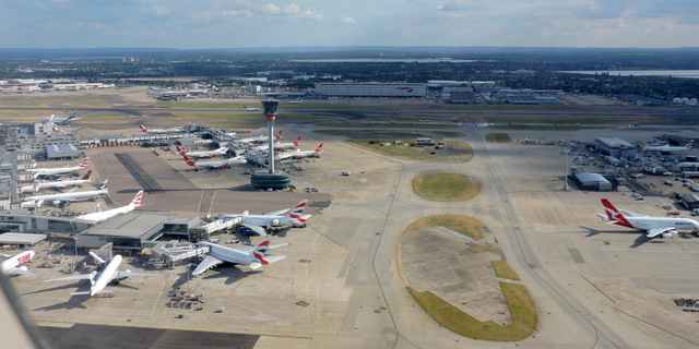 Heathrow Airport Terminal 3 from the air