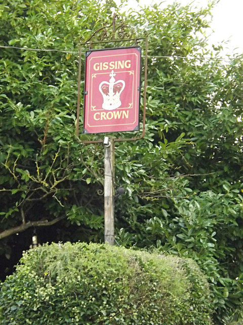 The Gissing Crown Public House sign
