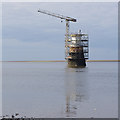 SD4254 : Plover Scar Lighthouse rebuilding by Ian Taylor