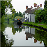 SO8171 : Canal, cottages, and pub near Stourport, Worcestershire by Roger  Kidd