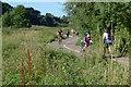 SP2964 : Two-way traffic on the shared path, Myton Fields, southeast Warwick by Robin Stott