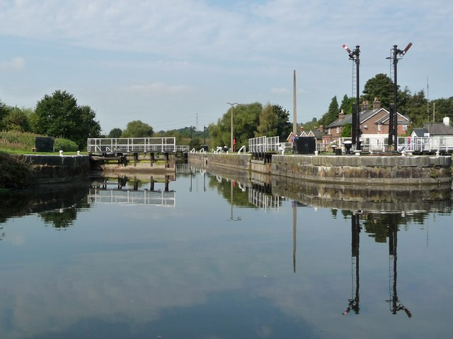 The wider Saltersford Lock, ready for use