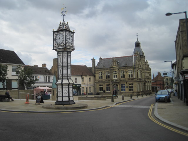 Downham Market clock tower and Town Hall