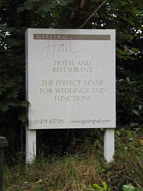 Gissing Hall Hotel & Restaurant sign