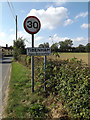 TM1389 : Tibenham Village Name sign on Hill Road by Adrian Cable