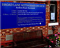 SJ6550 : Information board and memorial bench, Broad Lane Methodist Church, Nantwich by Jaggery