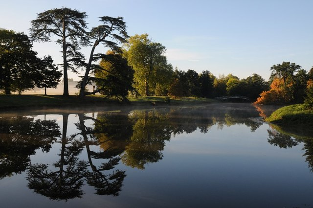 Trees reflected in the lake at Croome
