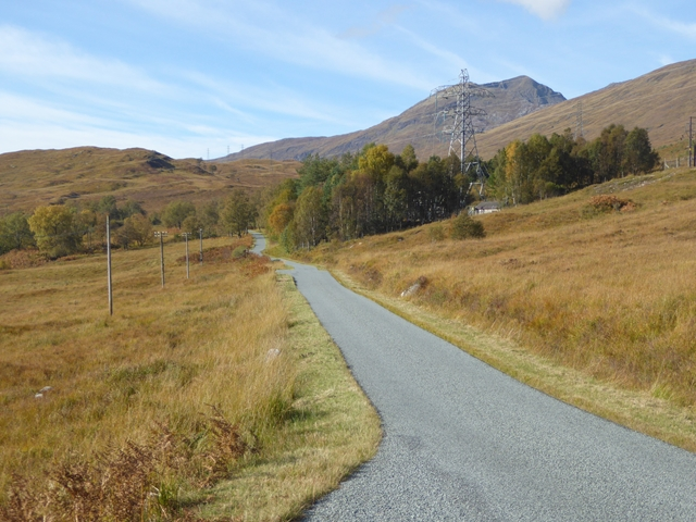 High- and low-tension power lines in Glen Garry