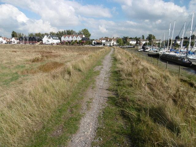 The Saxon Shore Way alongside Conyer Creek