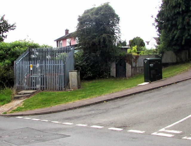Electricity substation and telecoms cabinet on a north Monmouth corner