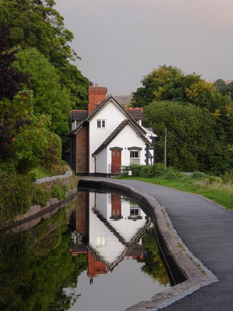 Canal reflections in Llangollen, Denbighshire