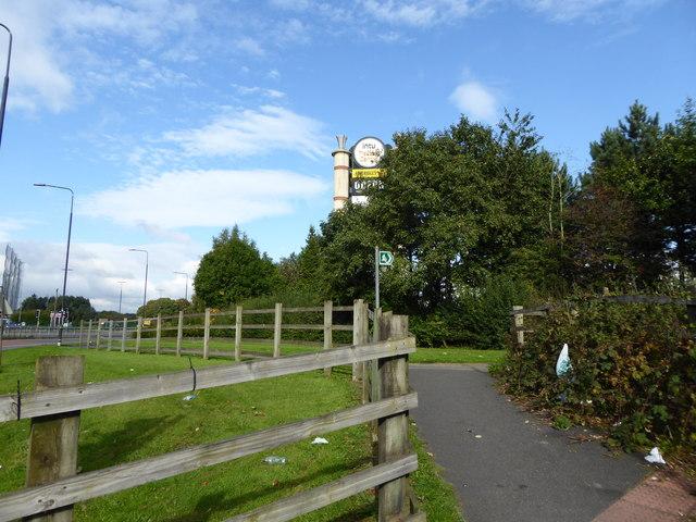 Footpath off B5214 near Trafford Centre