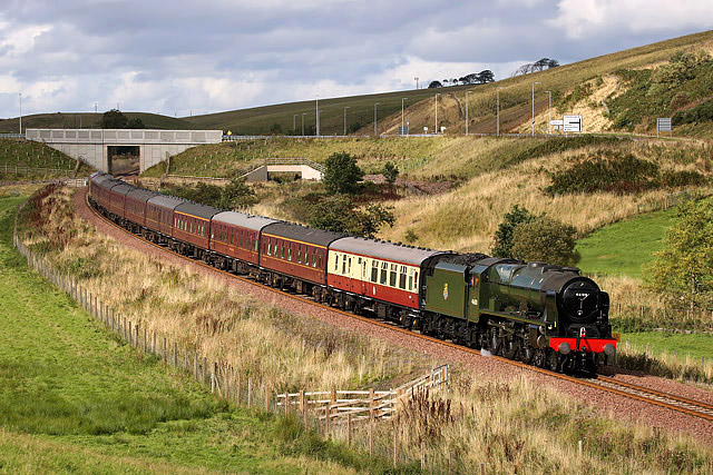 A steam special on the Borders Railway at Hangingshaw