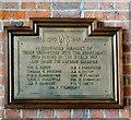 SJ8497 : LMS WWII memorial plaque by Gerald England