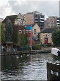 TQ3283 : Canal Basin near City Road Lock,  Regents Canal, Islington, London by Christine Matthews