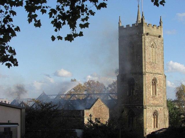 Fire, St Michael on the Mount church,... © Derek Harper    Geograph ... fe1e2d3175
