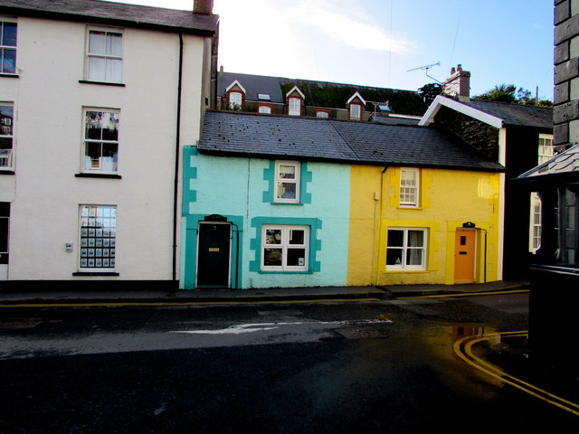 Yellows and greens in  Chapel Square, Aberdovey