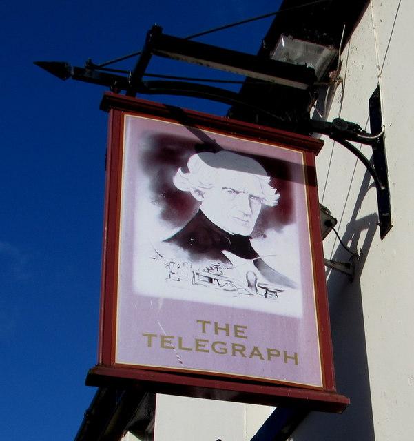 The Telegraph pub name sign, Castlefields, Shrewsbury
