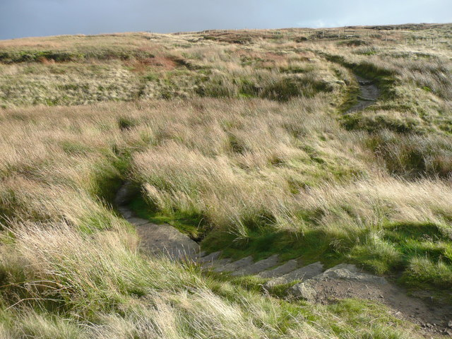 The Pennine Way crossing a small valley, Saddleworth