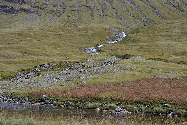 Waterfalls and alluvial fan, Allt Fionn Ghlinne
