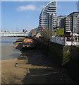 TQ2575 : Barge by Wandsworth Bridge by Hugh Venables