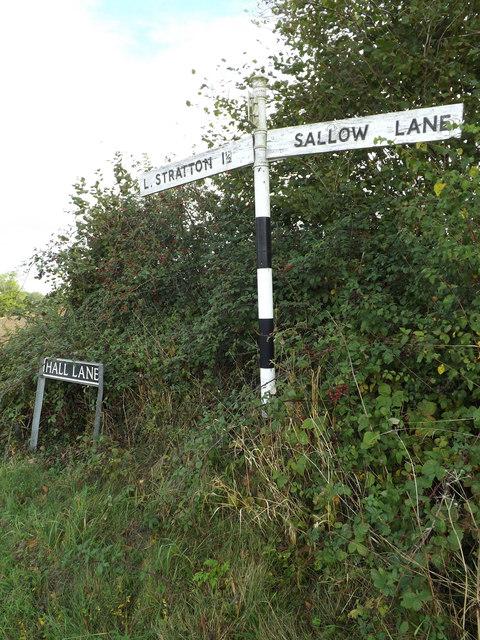 Signpost & Hall Lane sign