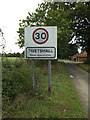 TM1786 : Tivetshall Village Name sign on Star Lane by Adrian Cable