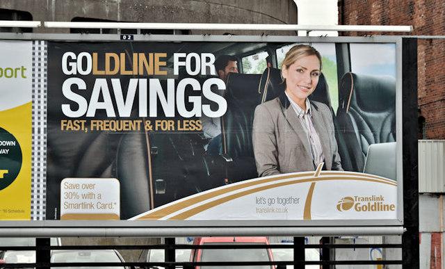 """Ulsterbus """"Goldline"""" poster, Belfast (October 2016)"""