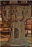 SK9136 : Grantham, St. Wulfram's Church: Late c15th Perpendicular font 3 by Michael Garlick