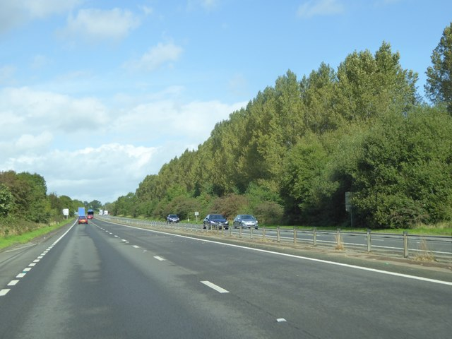 Lay-by by A449 northbound with trees in a cutting