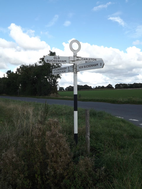 Signpost on Old Buckenham Road