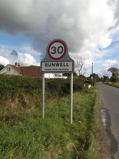 Bunwell Village Name sign on Mile Road