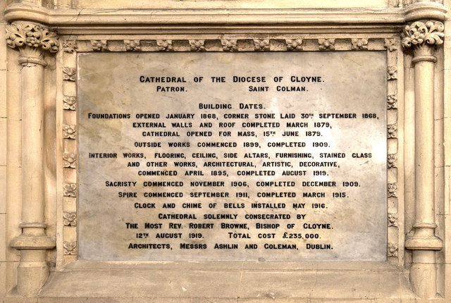 Information plaque, St Colman's Cathedral