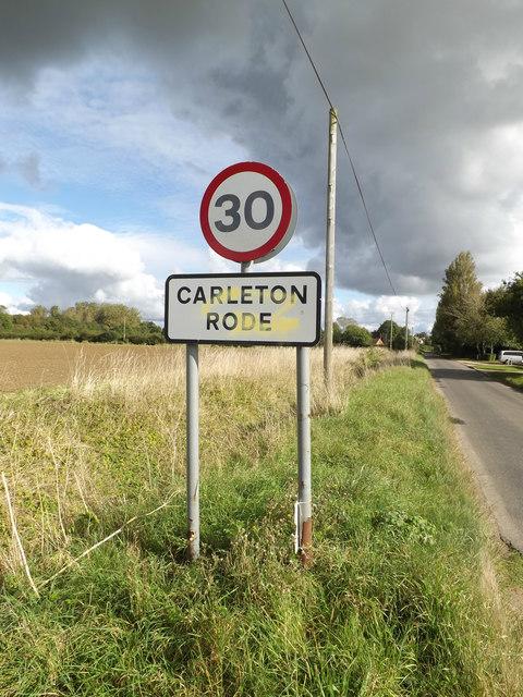 Carleton Rode Village Name sign on Mill Road