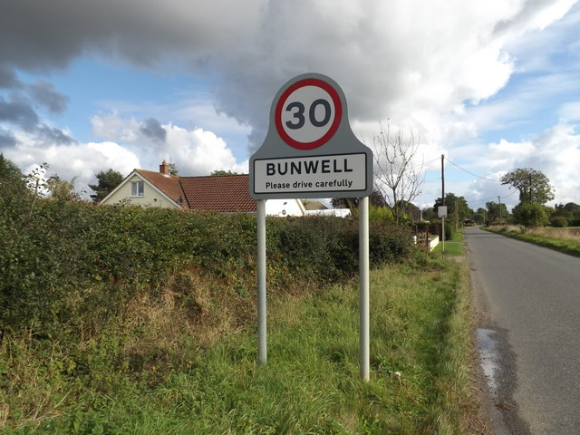 Bunwell Village Name sign on Mile Road