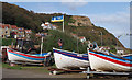 NZ8115 : Runswick Bay boat park by M H Evans
