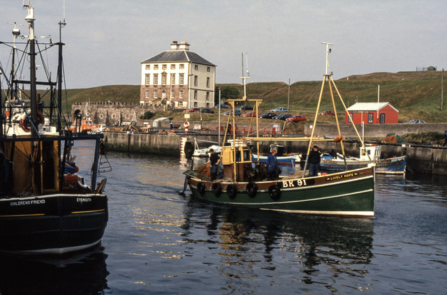 Eyemouth harbour and Hunsgreen House