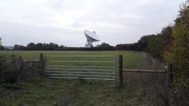 Radio Telescope Viewed from Public Footpath