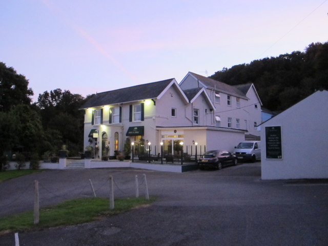 Fernhill Hotel, Charmouth, at dusk