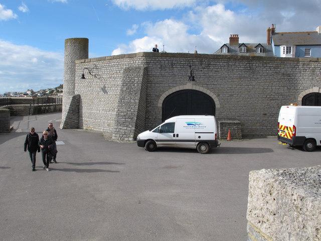 Pumping station built into sea wall, Lyme Regis