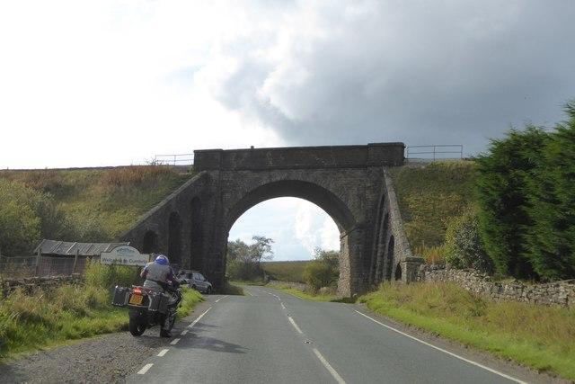 Railway bridge over A684 near Moorcock Inn